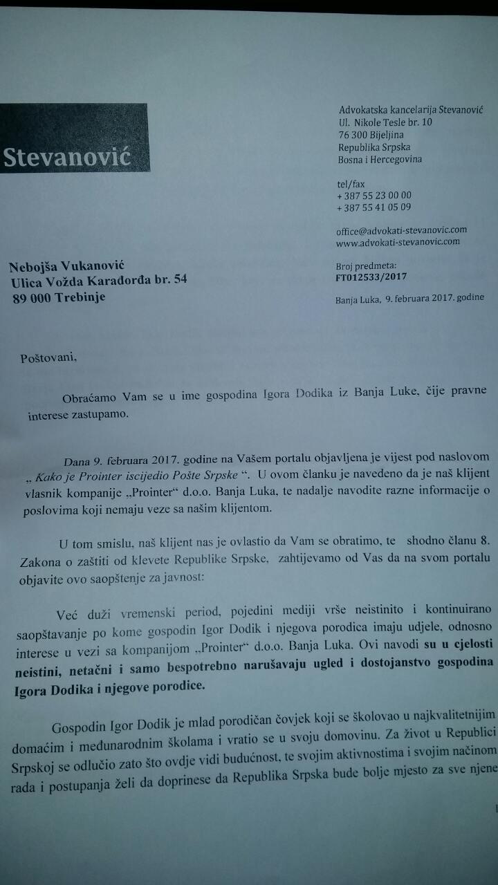 Dodik pisao Vukanovicu.jpg